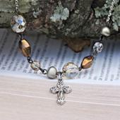 IN-503 Elegant Beaded Cross Necklace