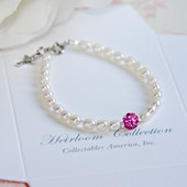 CJ-440-5 Freshwater Pearls and Crystal Pink Bead Bracelet 5""