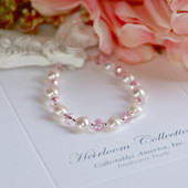"CJ-382-6 Freshwater Button Pearls & Pink Crystals 6"" Bracelet"