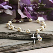 "IN-134  Mother Bracelet with Cross and Crystal drop ""stretchy"" style!"