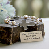 IN-137  Freshwater Pearls and Hammered Cross Bracelet for Mother