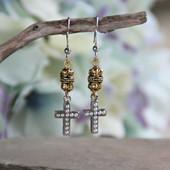 IN-34  Lots of Detail Delicate Seed Pearl Stunning Cross Earrings
