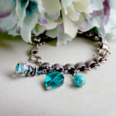 IS-691  Vintage Style Charm Bracelet with Beautiful Teal & Turq. Crystals