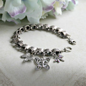 IS-692  Vintage style Charm Bracelet with Butterflies and Dragonfly