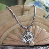 IS-636  Classic Fleur de Lis Necklace with Freshwater Pearls