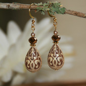 FER-65  Engraved Beads Old World Style Earrings