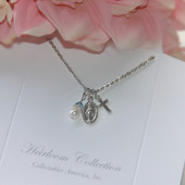 RH-43  Mary Medal with Cross & Pearl Rhodium Necklace