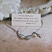 IN-506  Angel wings Necklace Psalm 91:11
