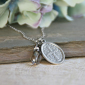 IN-512  St. Benedict Oval Medal Necklace