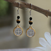 IN-38  St. Benedict Medal Black Jet Earrings