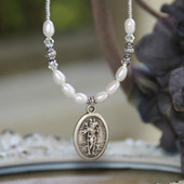IN-635  St. Christopher Beaded Necklace