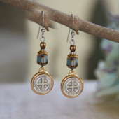 IN-39  St. Benedict Classic Blue Earrings