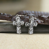 IS-179  Fleur de lis Cross Earrings