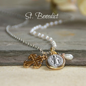 "IS-183  Oh so stylish St. Benedict & Pearls 20-24"" ""Necklace"