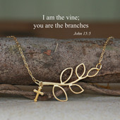 IN-522G I am the Vine... Gold Finish Necklace