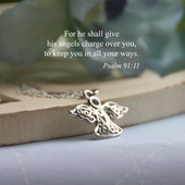 IN-517  Sterling Silver Angel Necklace with Message Card