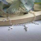 """STG-51  Lots of Dainty Crosses Sterling Silver 6 """" Bracelet"""