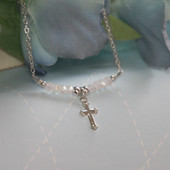 STG-26CR  Sterling Silver Cross and Matte White Crystals