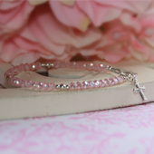 "STG-24CR  Matte Pink Crystals and Sterling Silver Cross  5"" Bracelet"