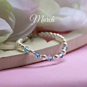 CJ-131  March Birthstone Bracelet 5""