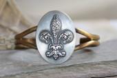 ART-110 Fleur de Lis cuff bracelet-8