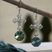 IN-59  WOW Fabulous Color Crystal Filagree Cross Earrings