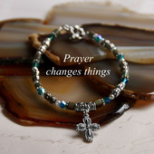 IN-370  Prayer changes Things great colors Cross Bracelet!