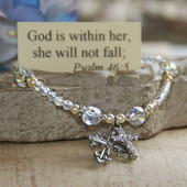 IN-373  God is within her, she will not fall...Crystal Bracelet
