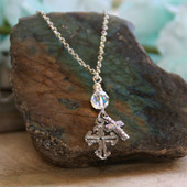 IN-532  Crystals and Crosses Necklace