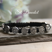 IN-166SI   St. Benedict Corded Bracelet with Message card and Organza bag