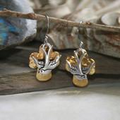 IN-65  Dove and Cross Drop Earrings