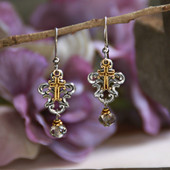 IN-64  Swirls and Cross Two-Tone Drop Earrings