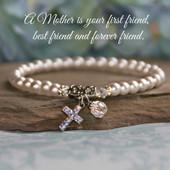IN-173  Mother Bracelet Stretchy Style with Pearls & Swarovski