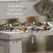 IN-174  Jesus hears your Tears like a Prayer Bracelet