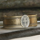 ART-137  Vintage Style Cuff Bracelet with St. Benedict medal