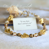 IN-216  Footprints Bracelet...It was then that I carried you -Jesus