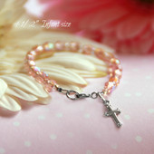 CJ-430  Infant Beautiful Pink Crystals and Rhodium Cross Bracelet 4 1/2""