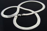 Herringbone Chain : 24 Inch : Rhodium Plated
