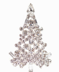 Crystal Christmas Tree Pin Silver