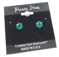 Swarovski Crystal Elements Stud Earrings : Emerald