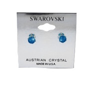 Swarovski Crystal Elements Stud Earrings : Caribbean Blue Opal