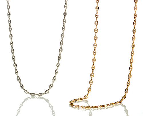 necklace chain gold mens mariner mm yellow puffed link