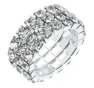 Austrian Crystal Stretch Ring : 3 Row