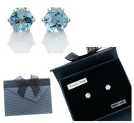 Genuine Blue Topaz Earrings in Sterling Silver