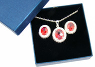 Rare Fire Orange CZ Necklace and Earrings Set