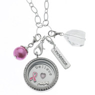 Floating Locket Necklace - Breast Cancer Awareness