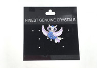 Wholesale Purple Owl Pin with Blue Crystals