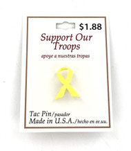 Wholesale Yellow Ribbon Tac Pins - 100 Pieces