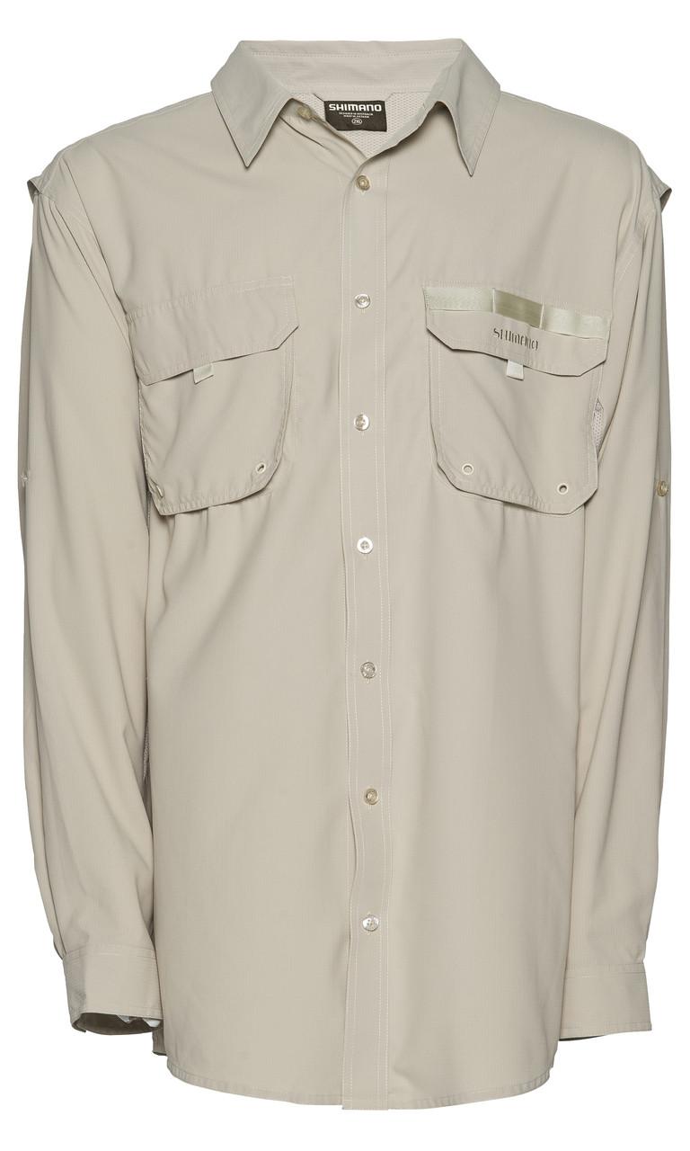 Shimano vented shirt fishing shirt long sleeve oatmeal for Fishing long sleeve shirts