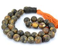 Islamic 33 Baltic Amber Prayer Round Matte Beads